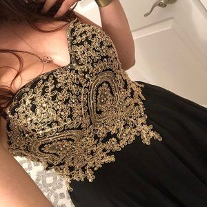 Black and gold homecoming/prom dress